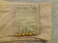women ladies trousers pair small size soft trousers brown and beige with embroidery and buttons