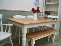 Stunning Pine Farmhouse 5ft Table Chair Bench Set.
