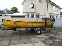 now sold 15ft open boat with 8hp outboard motor on good road trailer