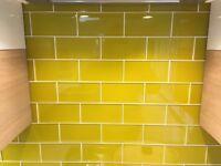 Yellow Glass Metro Tiles 152x75x8mm