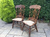 Pair of fiddleback chairs SHABBY CHIC farmhouse cottage SOLID WOOD Oak