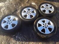 195 - 55 - r16 - Vauxhall Astra alloy wheels - 5 spoke alloys - good tyres -