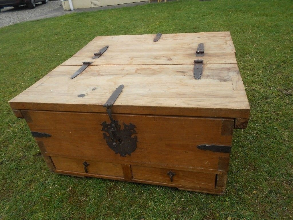 Old Chunky Pitch Pine Chest Trunk Coffee Table