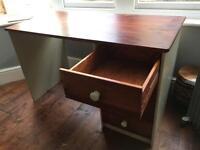 Refurbished desk-mahogany/green