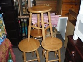 SET OF FOUR SOLID PINE STOOLS