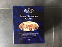 DUISKE IRISH HAND CUT GLASS FOOTED COMPORT NEW IN BOX