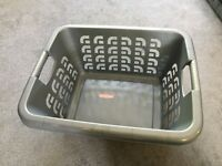Grey Curver washing basket and White plastic washing basket both in excellent condition