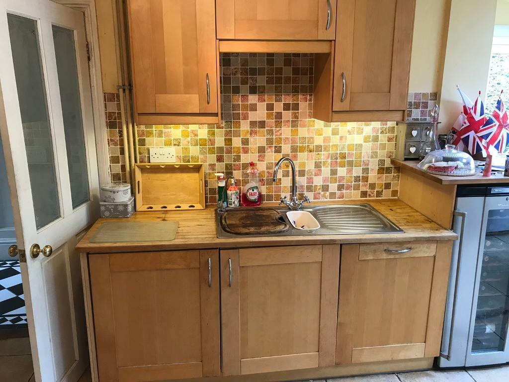 Ikea kitchen cabinets Adel Birch kitchen including integrated fridge | in  Rochester, Kent | Gumtree