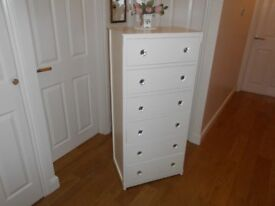 TALLBOY SIX DRAWER CHAST OF DRAWERS PAINTED LAURA ASHLEY WHITE