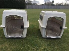 2 x Large Plastic Kennel Crate Airplane Travel for Dog Cat Safe Durable (Will sell separate if req)