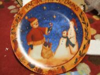 Christmas Cake Plate and Serving Knife