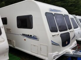 2010 Bailey Pegasus 624 Twin Axle 4 Berth Fixed Bed End Washroom Caravan with Motor Mover