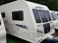 2010 Bailey Pegasus 624 Twin Axle 4 Berth Fixed Bed End Washroom Caravan with Motor Mover
