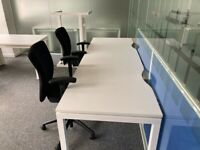 White 4 and 2 pod desk office table task computer desk side by side £320 for 4 person pod