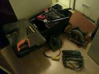 Stanley tool box with miscellaneous hand tools