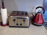 Next- 4 slice toaster ,kettle and kitchen roll holder metallic red
