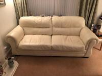 Cream 4 seater leather sofa