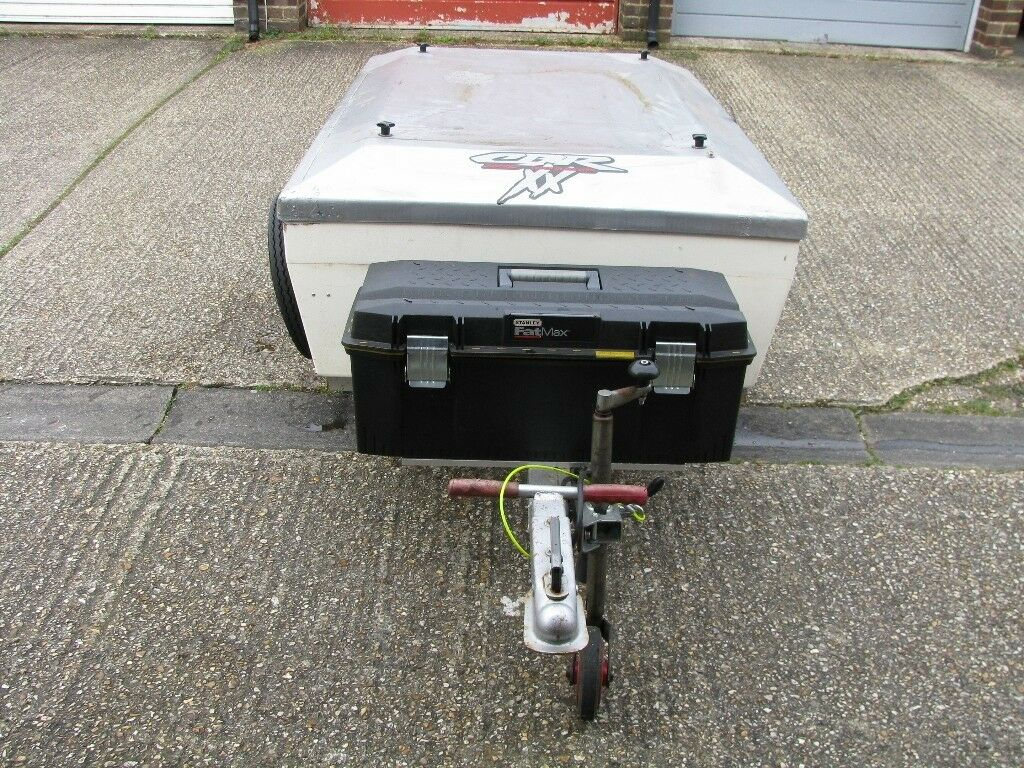 CAMPING TRAILER FOR SALE. Hinged lid, spare wheels, toolbox, 5ft x 3.5ft, secure.
