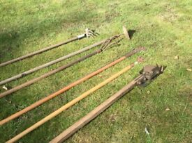 6 vintage garden tools from 1930 s Potting shed and modern rake and tree pruner
