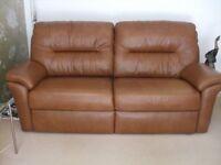 G-Plan Washington Brown Leather 3-seater settee