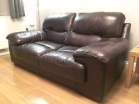 Pair of Dark Brown Leather 2 Seat Sofas from DFS