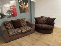 HARVEYS FABRIC SOFA & CUDDLE SWIVEL ARMCHAIR VERY COMFY DELIVER