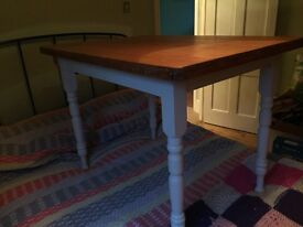 Vintage small pine table, Annie Sloan painted legs, cutlery drawer, pine oiled top