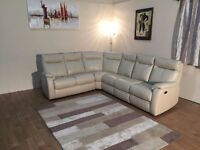Ex-display Jemima cream leather half standard and electric recliner corner sofa