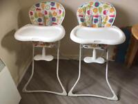 2 graco fruit salad high chairs - £60 for both! like new - will sell separately :)
