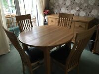 SOLID OAK Dining table with chairs & side board