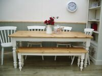 Stunning Pine Farmhouse 6ft Table Chair Bench Set.