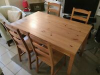 IKEA pine table & 4 chairs - great condition