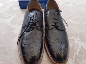 Mens M&S LUXURY Natural Tan Leather Layered Sole Derby Shoes. sz 10.