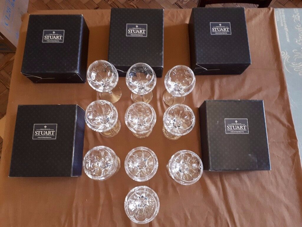 10 Stuart Crystal 'Valencia' pattern Wine Goblets - unmarked 'seconds'