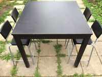 Black bar table with 4 chairs