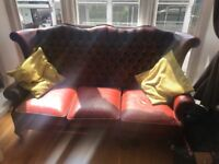 Vintage Leather Wingback Chesterfield 3 seater