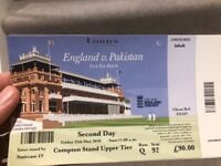 2 tickets - England v Pakistan test match @ Lords - Day 2. Compton Stand Upper Tier
