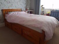 Single pine bed with 3 storage draws. Ideal for children's bedroom