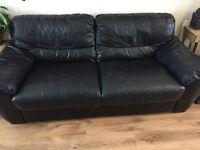 Three seater real leather sofa