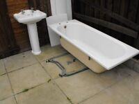 ROPE EDGE style BATH 1700x700 & matching SINK & PEDESTAL + SINK & BATH TAPS