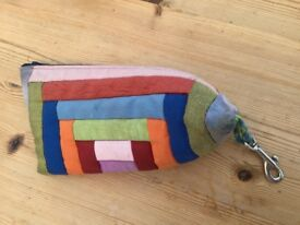 patchwork handmade zip pencil case with clip fastening on the end. £1. torquay or can post.