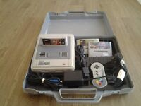 SNES SUPER NINTENDO ENTERTAINMENT SYSTEM WITH 3 GAMES ALL LEADS AND CARRY CASE