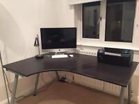Ikea Corner Desk Black Wooden Surface with Silver Legs