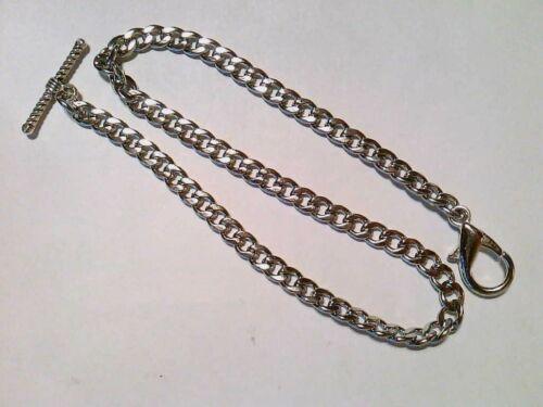 "Pocket watch T-Bar Albert Chain silver tone 12"""