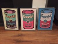 3 x Campbell's soup can box pictures