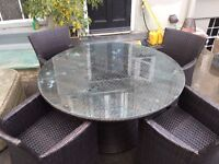'Ocean', Black Ratan Family Sized Table with 4 matching chairs. Glass top, and cover included.