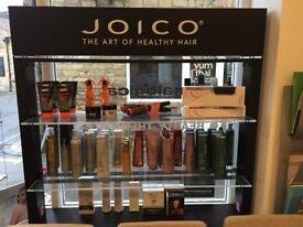Joico retail display free standing shelving
