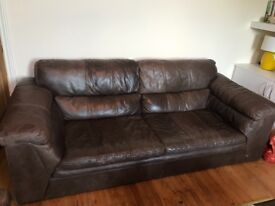 DFS brown leather sofas - generous 2-seater and 3-seater