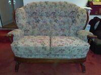 Joynson Holland solid oak framed (matching pair) arm chair and 2 seater sofa - with fire tags