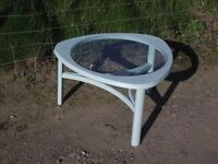"""1960s """"Space Age"""" Retro Three Sided Coffee Table With Round Inset Glass Centre"""
